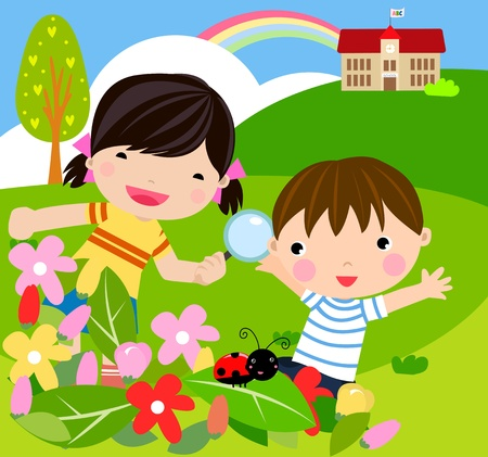 animate: boy and girl with magnifying glass with lady bugs over