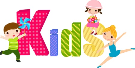 kids and word Stock Vector - 11657049