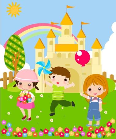 divertirsi: Bambini felici Vettoriali