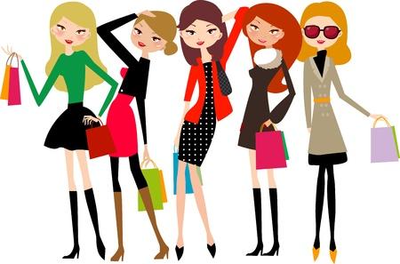 chicas de compras: las chicas de moda Vectores