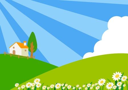 Villa on a hill Stock Vector - 12936228
