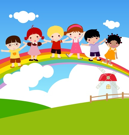 rainbow clouds: Children and rainbow Illustration