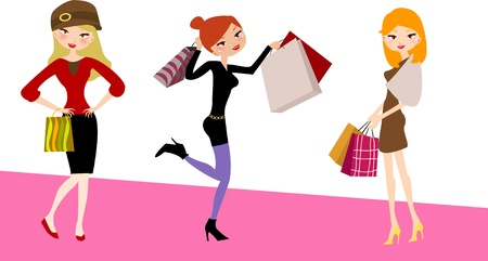 pretty shopping girls  Vector