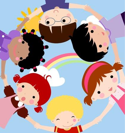 love of planet: happy children hand in hand around