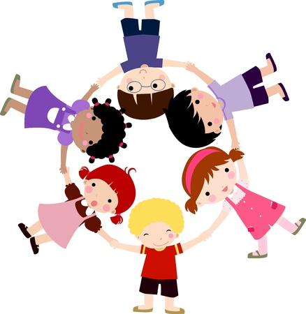 group of friends: happy children hand in hand around