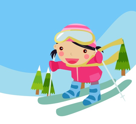 Skiing girl Vector