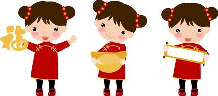 cute chinese girls Vector