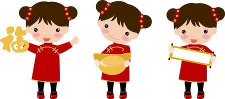 schattige chinese meisjes Stock Illustratie