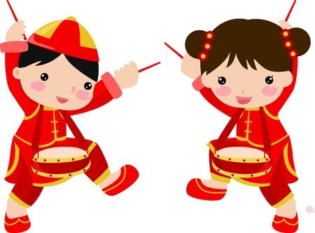 Nieuwjaar Greetings_boy en meisje Stock Illustratie