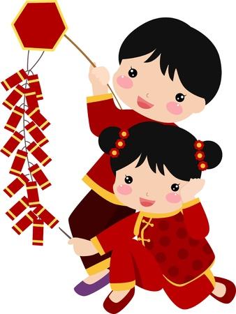 bambini cinesi: Greetings_children Capodanno Vettoriali