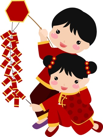New Year Greetings_children  Vector