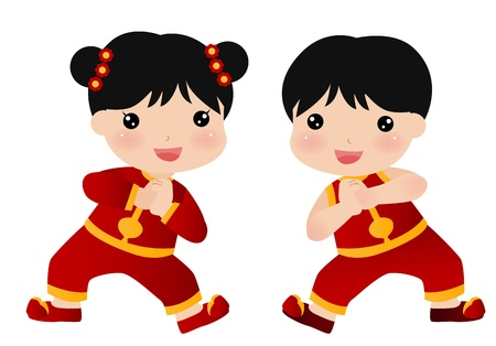 china art: New Year Greetings_boy and girl