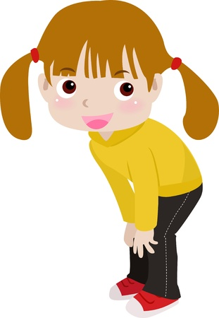 girls with bows: a cute little girl  Illustration