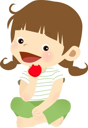 children eating: apple girl