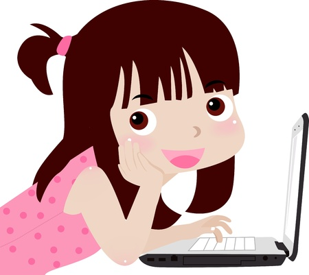 little girl and laptop Stock Vector - 12161402