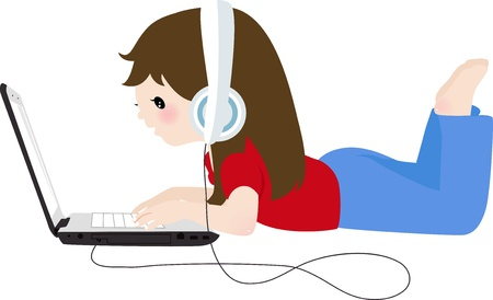 little girl and laptop  Vector