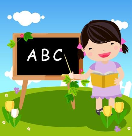 kid and blackboard  Vector