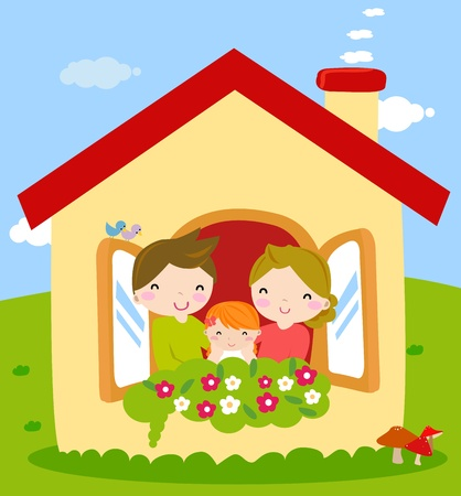 yellow house: family Illustration