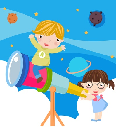 telescopes: boy and girl  Illustration