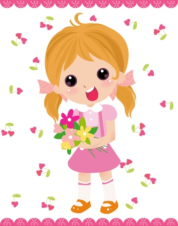 lovable: girl and flower  Illustration