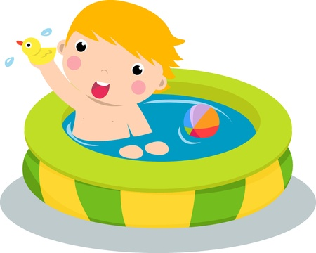 cartoon bathing: Boy in inflatable pool