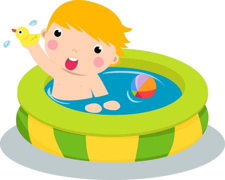 personas banandose: Ni�o en la piscina inflable