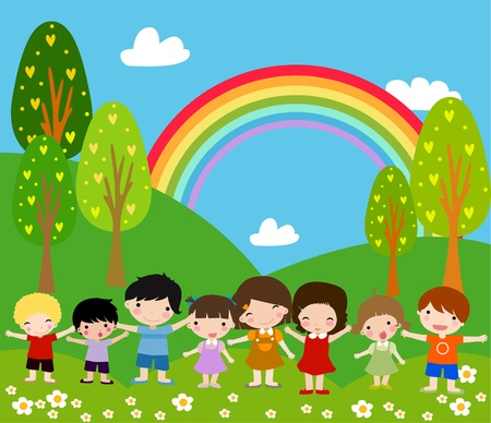 rainbow clouds: Children and rainbow - Art Illustration.  Illustration