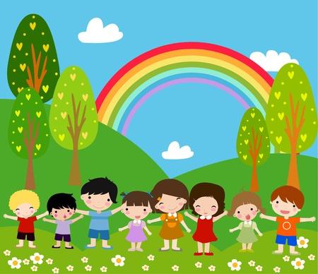 Kinderen en regenboog - Art Illustratie.