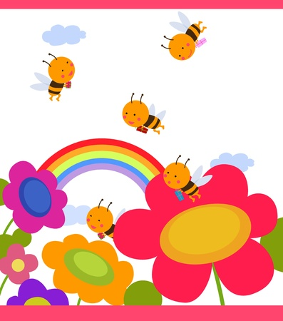 Happy garden flower with bees around