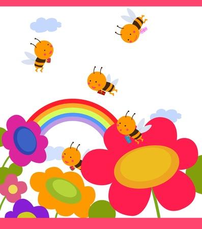 Happy garden flower with bees around Stock Vector - 16262434