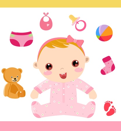 bonnet illustration: baby girl