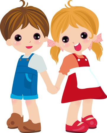 shy girl: Boy and girl  Illustration