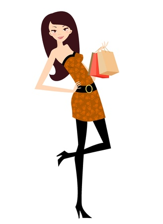 purses: girl with bag  Illustration
