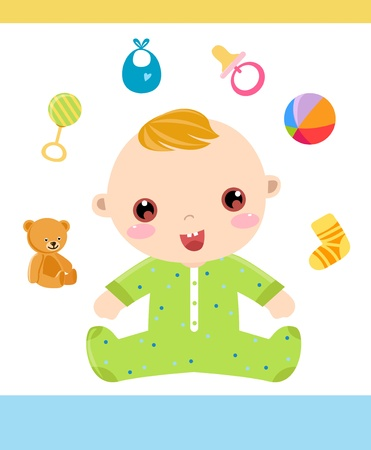 bonnet illustration: baby boy  Illustration