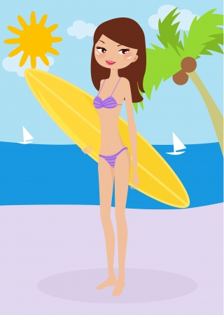 illustration of a beautiful surfer girl on the sunny beach  Vector
