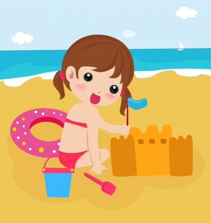 enfant maillot de bain: Petite fille la construction d'un ch�teau de sable sur la plage Illustration