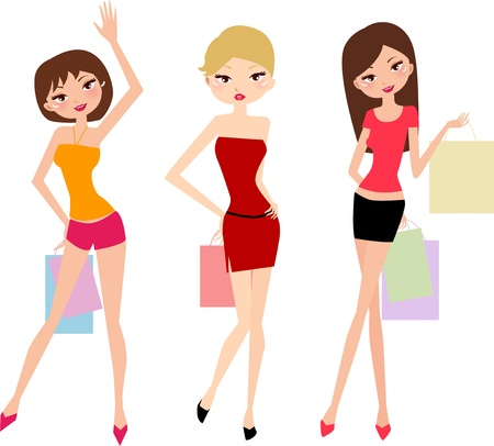 Shopping girls  Stock Vector - 16262456