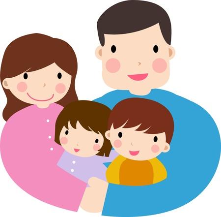 family clipart: Famiglia con due bambini Vettoriali