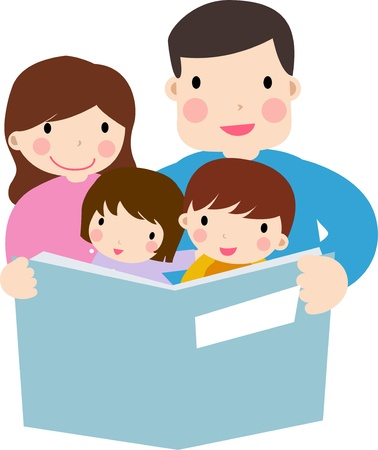 kids reading: Family reading story to children  Illustration