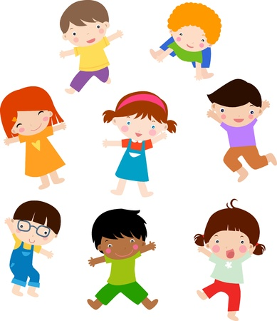 niño y niña: posición niños Vectores