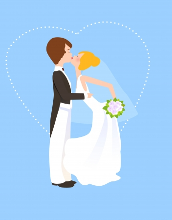 bride and groom kissing  Stock Vector - 16497418