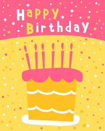 誕生日のはがきのためのキャンドルのケーキ  イラスト・ベクター素材