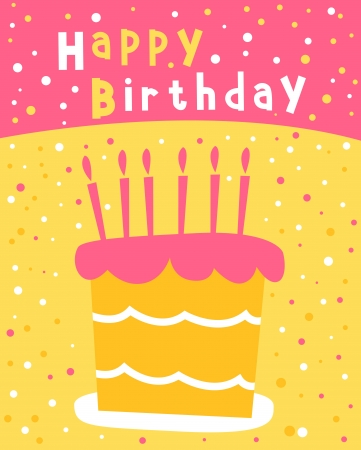 cake with candle for birthday postcard  Иллюстрация
