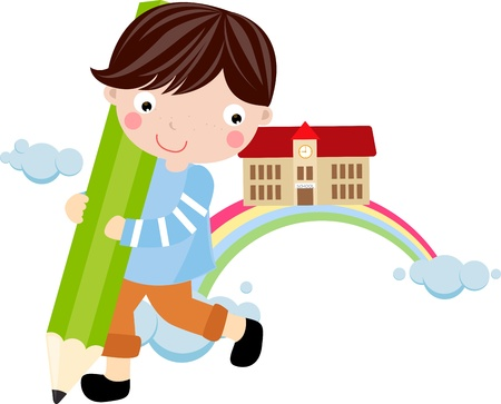 grader: Cute little boy and pencil