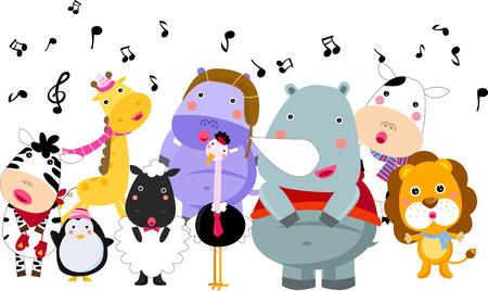 Cute group of animals sings in winter Vector