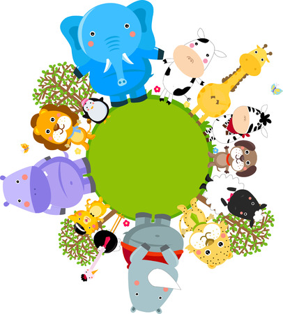 Happy cartoon world globe surrounded by animals Vector