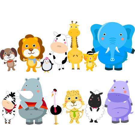 hipopotamo caricatura: Grupo de animales Vectores