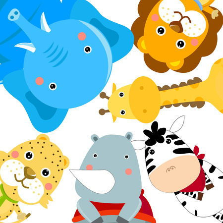 hipopotamo caricatura: conjunto de animales Vectores
