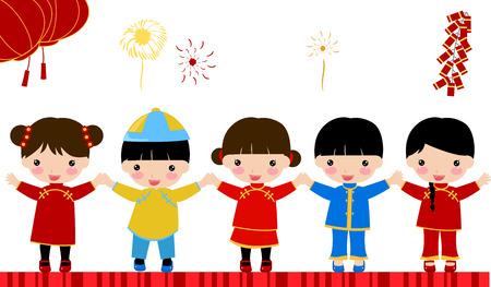 _children Año nuevo, chino Foto de archivo - 24198571
