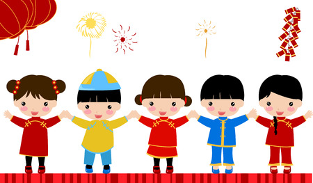 New Year _children,chinese Stock Vector - 24198571